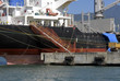Detail of cargo ship moored in port