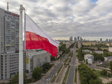 Warsaw Cityscape behind the Flag - 222530998