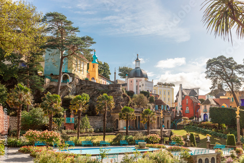 Popular tourist resort of Portmeirion, North Wales, UK, the Italianate village built by Clough Williams-Ellis.