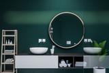 Interior of dark green bathroom, round sink - 222536778