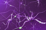 Purple neurons with glowing fragments over purple