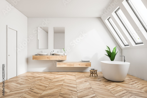 Attic luxury bathroom interior, white - 222539920
