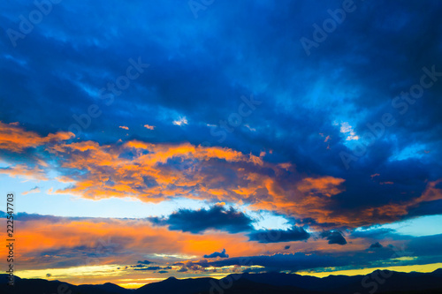 Sunset over Mt. Mansfield, VT, USA - 222547703
