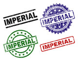 IMPERIAL seal prints with distress style. Black, green,red,blue vector rubber prints of IMPERIAL tag with grunge style. Rubber seals with round, rectangle, medal shapes. - 222549547