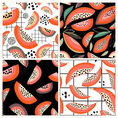 Bezszwowa deseniowa kolekcja z melonowiec owoc, ręka rysujący wektorowy projekt