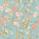 Floral pattern with vector flowers and swirls