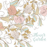 Floral vector illustration with flowers rustic pretty style