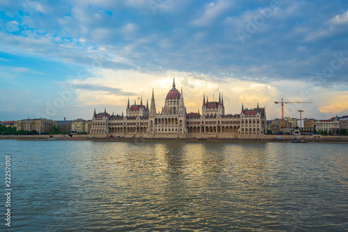 fototapeta na ścianę Sunset view of Budapest Parliament Building with view of Danube River in Hungary