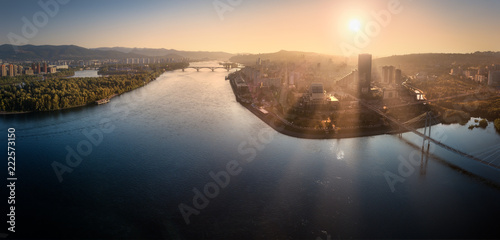 View of Krasnoyarsk and the Yenisei river from a height - 222573150