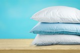 Soft Pillows Pile on grey background, three - 222573572