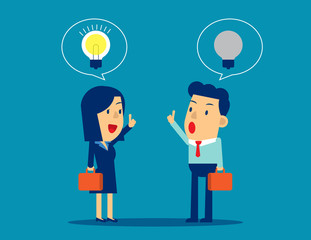 Difference of ideas between leaders and employee. Concept business vector illustration. Ideas, Bulb, Thinking, New and Old, Leadership.