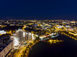 Leinwanddruck Bild - Aerial top view of Minsk city downtown at midnight