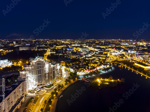 Leinwanddruck Bild Aerial top view of Minsk city downtown at midnight