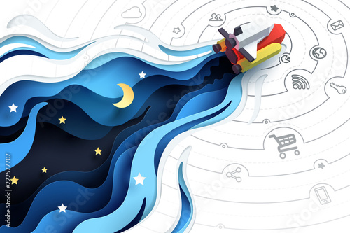 Fototapeta Paper art of spaceship fly to explore, social media marketing concept and start up business idea