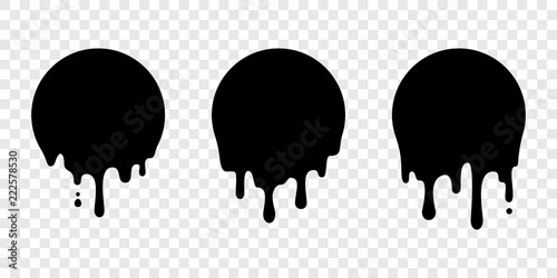 Paint drip sticker circle label vector liquid drop