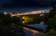 Moscow region. July 6, 2018. Night. Myakininsky metro bridge across the Moscow River