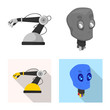 Vector design of robot and factory symbol. Collection of robot and space stock vector illustration.
