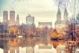 The lake in Central park, New York City at autumn day, USA