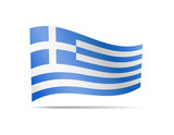 Waving Greece flag in the wind. - 222593909