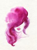 beautiful woman. fashion illustration. watercolor painting - 222594364