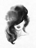 beautiful woman. fashion illustration. watercolor painting - 222594381