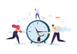 Time Management Concept. Flat Characters Organization Process. Business People Working Together Team Work. Vector illustration - 222596763