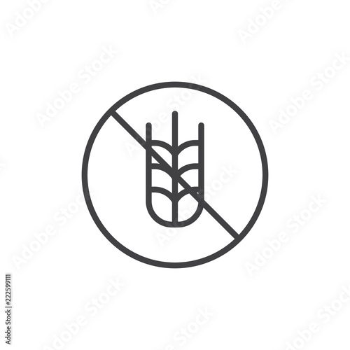 Gluten free label outline icon  linear style sign for mobile concept