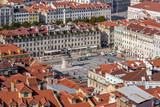 Lisbon, Portugal. Figueira Square in the Baixa District of Lisbon seen from the Castelo de Sao Jorge aka Saint George Castle. - 222600170