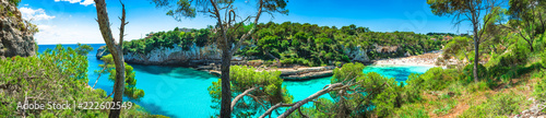 canvas print picture Sommer Urlaub Strand Bucht Spanien Mallorca, Meer Landschaft Panorama, Cala Llombards