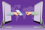 online concept, two hands from laptops. air ticket and pleading gesture. 3d illustration - 222605902
