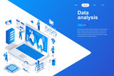 Data analysis modern flat design isometric concept. Analytics and people concept. Landing page template. Conceptual isometric vector illustration for web and graphic design. - 222618749