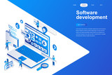 Software development modern flat design isometric concept. Developer and people concept. Landing page template. Conceptual isometric vector illustration for web and graphic design. - 222618909