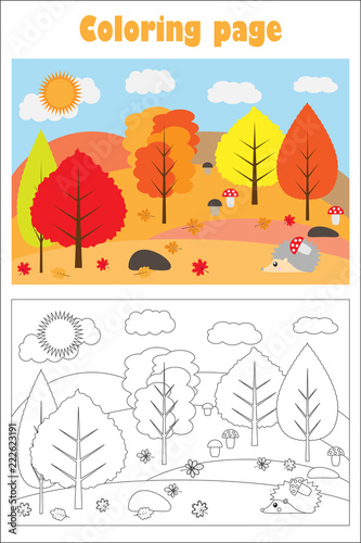 Autumn forest in cartoon style, coloring page, education paper game for the development of children, kids preschool activity, printable worksheet, vector illustration