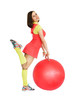 Young beautiful girl doing fitness exercises with ball, isolated on a white background.