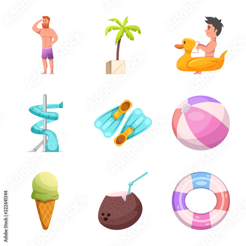 Isolated object of pool and swimming logo. Collection of pool and activity vector icon for stock. - 222641344