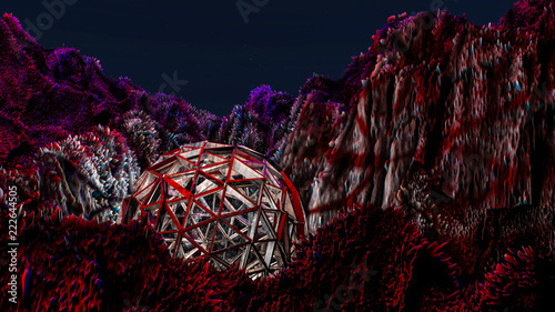 fantastic landscape. the surface of the planet. 3D rendering - 222644505