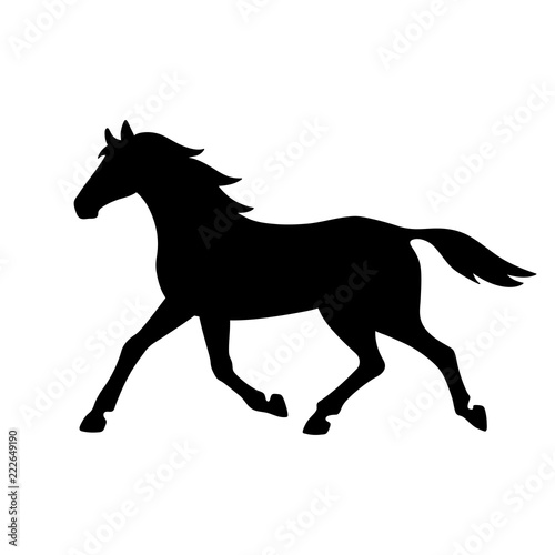 Isolated black silhouette of running, trotting horse on white background. Side view. © olkita