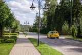 yellow taxi rides on the private sector road, taxi rides on the suburban road - 222650709