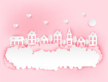 Urban Countryside Landscape Village  Cute Paper Houses Hearts And Fluffy Clouds Romantic Pastel Colored Paper Cut  Sticker