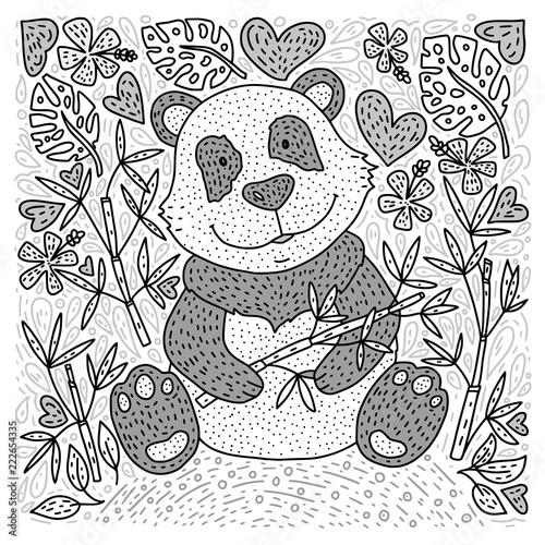 Fototapeta Panda bear doodle Illustration with bamboo. Hand drawn detailed cartoon card. Vector.