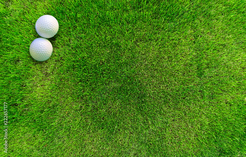 Two Golf Balls Lying on Green Grass View from Above - 222657177