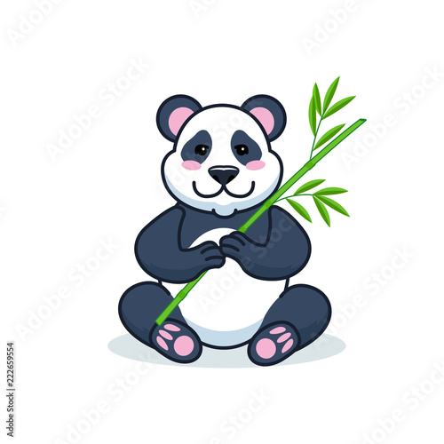 Fototapeta Cute cartoon giant panda is sitting on the ground, with branch of bamboo leaves in hand. Vector Illustration.