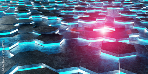 Black blue and pink hexagons background pattern 3D rendering