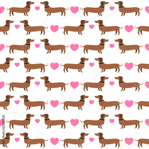 mata magnetyczna Dachshunds with hearts seamless pattern, vector background