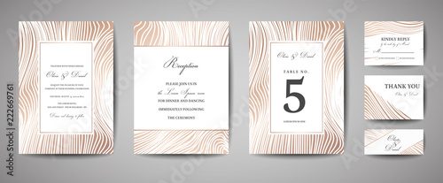 Luxury Wedding Save the Date, Invitation Navy Cards Collection with Gold Foil Wood Texture. Vector trendy cover, graphic poster, geometric floral brochure, design template - 222669761
