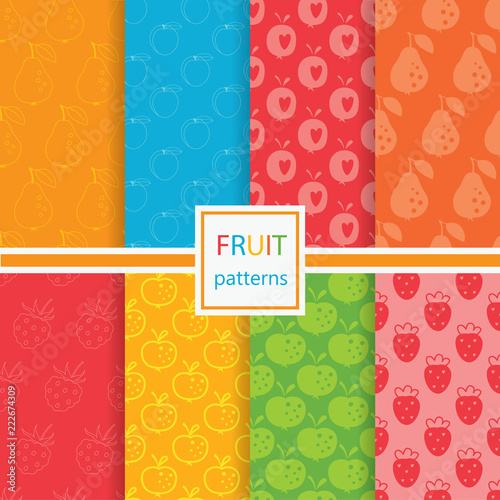 Fruits seamless patterns set - 222674309