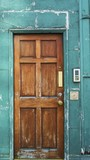 A tipical brown old wooden door in Dublin of a local house