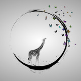Silhouette of giraffe baby looking at butterflies. Vector illustration