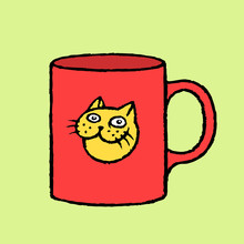 Red Cup Of Coffee  A Cat Sticker  Illustration Sticker