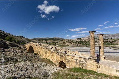 Fototapeta Adiyaman. Also known as the Cendere Bridge, the Roman Bridge or the Septimius Severus Bridge.